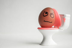 Toxicosis during pregnancy concept. Funny. Egg with a painted face on the toilet. Photo for your design stock image