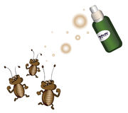 Toxin. Cockroaches running away from killing poison on a white background Royalty Free Stock Images
