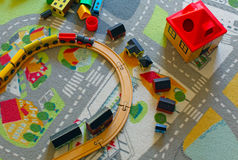 toy поезд деревянный Стоковые Фотографии RF