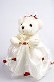 Toy. Bear in garb of the bride Stock Photo