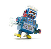 Toy. Old robot toy isolated on white royalty free stock photography