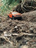 Toy adventure off road car. Travel in nature Royalty Free Stock Photography