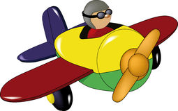 Toy airplane. Pilot piloting plane playful Stock Photos