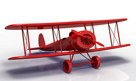 Toy airplane. Red airplane with shadow  on white background Stock Photo