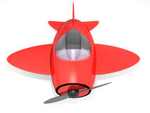 Toy airplane. Top view of red toy airplane isolated on white background; 3D render (global illumination, final gather Stock Photography