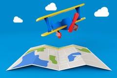 Toy Airplane au-dessus de carte de ville rendu 3d Image libre de droits