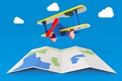 Toy Airplane au-dessus de carte de ville rendu 3d Image stock