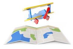Toy Airplane au-dessus de carte de ville rendu 3d Images stock