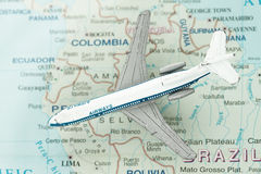 Toy Airplane on Map of Brazil and South America. Shallow depth of field from use of macro lens Royalty Free Stock Images