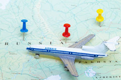 Toy Airplane on Map of Russia Royalty Free Stock Image