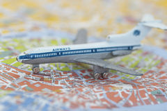 Toy Airplane on map of Venice Royalty Free Stock Images