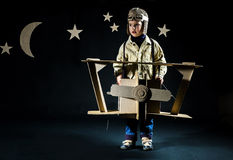 Toy airplane at night Stock Photography