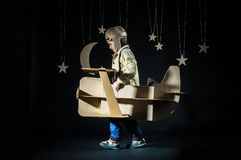 Toy airplane at night Royalty Free Stock Images