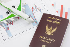 Toy airplane and passport Royalty Free Stock Images