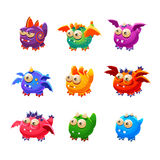 Toy Alien Monsters With And Without Wings Collection Stock Photos