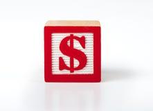 Toy Alphabet kvarter med ett dollarsymbol Royaltyfri Bild