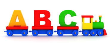 Toy alphabet. Letters abc in toy train carriages on a white background Royalty Free Stock Images