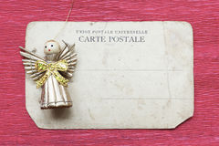 Toy angel on card Royalty Free Stock Photos