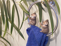 Toy animal koala bears enjoy their food Royalty Free Stock Photo