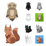Toy animals cartoon,black,flat,monochrome,outline icons in set collection for design. Bird, predator and herbivore. Vector symbol stock  illustration Royalty Free Stock Photo