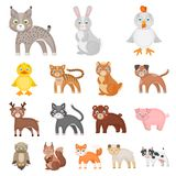 Toy animals cartoon icons in set collection for design. Bird, predator and herbivore vector symbol stock web Stock Photo