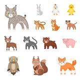 Toy animals cartoon icons in set collection for design. Bird, predator and herbivore vector symbol stock web. Toy animals cartoon icons in set collection for Royalty Free Stock Photography