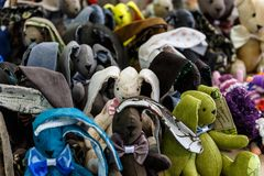 Toy animals from fur fabric. Lovely and cute toy animals from fur fabric stock image