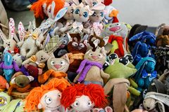 Toy animals from fur fabric Royalty Free Stock Images