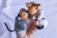 The toy animals had a meeting. stock image