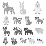 Toy animals monochrome icons in set collection for design. Bird, predator and herbivore vector symbol stock web. Toy animals monochrome icons in set collection Stock Photography