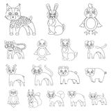 Toy animals outline icons in set collection for design. Bird, predator and herbivore vector symbol stock web. Toy animals outline icons in set collection for Stock Photos