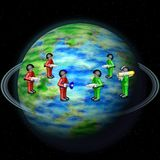Toy army on Earth globe Royalty Free Stock Image