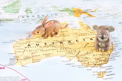 Toy Australian animals on map. A photo of toy Australian animals on the map stock photography