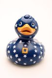 Toy Baby Bath Rubber Duck. A toy rubber duck with stars and stripes stock photo