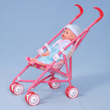 Toy baby buggy on blue background. Royalty Free Stock Image