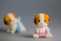 Toy baby dogs. Toy doggie, made from plush royalty free stock images