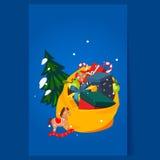 Toy Bag Full av gåvor och julgranen ferie Arkivbilder