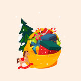 Toy Bag Full of Gifts and Christmas Tree. Vector Stock Image
