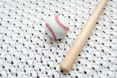 Toy baseball bat and ball for children. royalty free stock photography