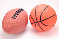 Toy basketball and football balls Stock Photo