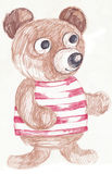 Toy bear 2. Hand drawing picture of little bear toy Stock Images