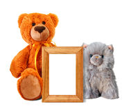 Toy Bear And Kitten With Photo Frame Royalty Free Stock Photo