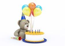 Toy Bear Celebrating il suo compleanno Fotografie Stock Libere da Diritti