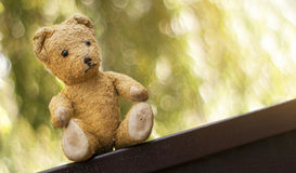 Toy bear - childhood banner Royalty Free Stock Photography