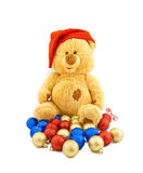 Toy bear in a Christmas cap Royalty Free Stock Image