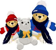 Toy bear cub. Three toys bear cub on white background Royalty Free Stock Image