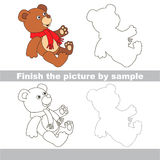 Toy bear. Drawing worksheet. Stock Photo