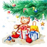 Toy bear and gifts under the Christmas tree Royalty Free Stock Photo