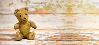Toy bear - happy birthday banner. Website banner of cute vintage toy bear - birthday concept Royalty Free Stock Image