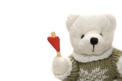 Toy Bear with Heart. Toy Bear with Red Heart, Hand Made Toy Stock Images